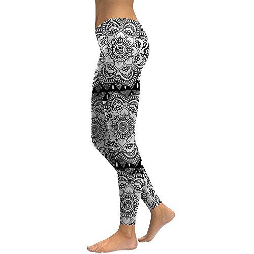 MAYUAN520 Las mujeres Leggings Mandala flor de loto sexy leggins de impresión en blanco y negro Mujer Fitness pantalones lápiz,S