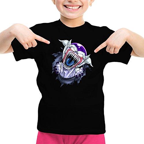 Okiwoki T-Shirt Enfant Fille Noir Dragon Ball Z - Alien parodique Freezer : La Naissance d'un Alien. (Parodie Dragon Ball Z - Alien)