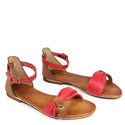 In Time Sandali Bassi Flat Donna Vera Pelle Rosso Cuoio 0410 Made in Italy