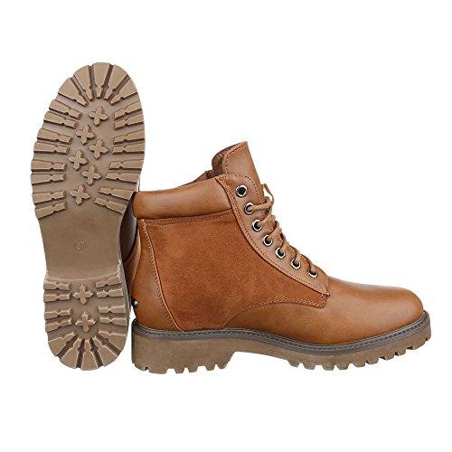 Ital-Design Schnürboots Damen Schuhe Combat Boots Blockabsatz Strass Besetzte Schnürsenkel Stiefeletten Camel