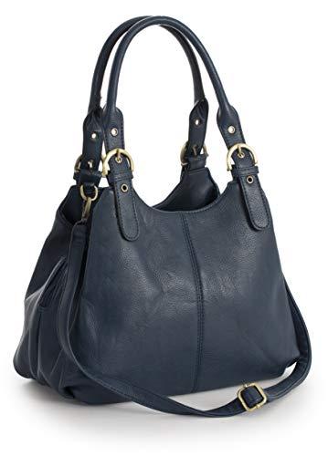 BHBS Damen-Schultertasche mit mehreren Taschen und langen Riemen, mittelgroß, mit Marken-Schutztasche Gr. One size, Marineblau (schwarzer Rand am Griff)