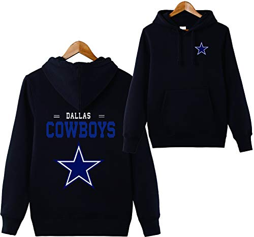 ZXTXGG Männer 3D Hoodies Dallas Cowboys NFL Football Team Uniform Muster Digitaldruck Liebhaber Kapuzenpullis(XXXXL,Schwarz)