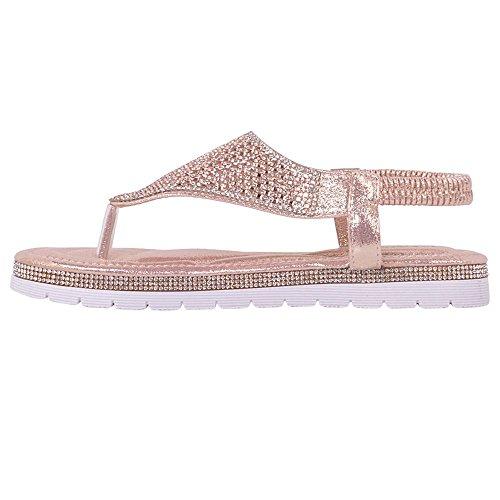 Neu Damen Diamant-zehensteg Knöchelriemen Sommer Strand Flache Sandalen Schuhgröße Rosa