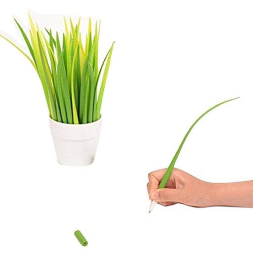 generic-12pcs-verde-bosque-grassblade-silicona-boligrafo-diseno-hierba-hojas-pen-black-ink