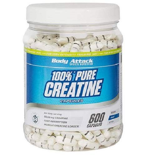 Body Attack 100% Pure Creatine Capsules, 600 Kapseln, 1er Pack (1 x 552g) -