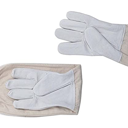 KINGLAKE Waterproof Beekeeping Gloves Goatskin, Leather Beekeeper Gloves for Men & Women, Large Beekeeping Protective Gloves Long with Vented Sleeves 4