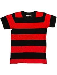 a026e494 Beano Dennis The Menace Kids Striped Short Sleeve T-Shirt   Red & Black  Stripe