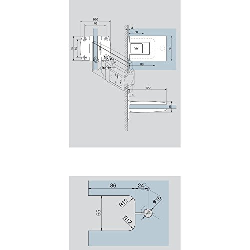 DORMA 81252011499 Pendeltürbeschlag Tensor Glas-Wand, 1 Paar
