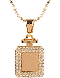 Ananth Jewels Heart Shaped Rose Gold Plated Pendant Necklace For Women - B073T3D2YX