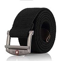 LLZGPZPD Cinturón De Lona Cinturón De Lona Hombres Mujeres Correa De Lujo Cinturón De Metal Cinturones Tácticos Del Ejército Para Hombres Cinturón Militar De Mejor Calidad Hombres Negro, Negro, 140 Cm