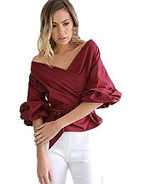 Mujeres blusa camiseta ropa, RETUROM Blusa vendedora caliente del vendaje de las mujeres atractivas de las tapas ocasionales del V-cuello de la camisa del hombro