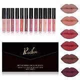 Rechoo Matt Rouge a Levres, Longue Durée Waterproof Matte Lipsticks Maquillage à Lèvres Liquide, Nude (New 12 pcs)