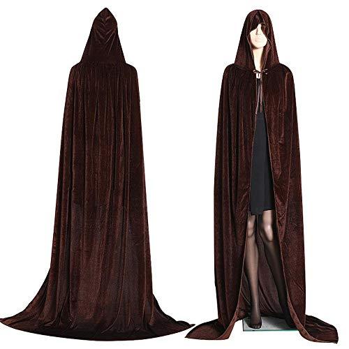 Kostüm Brown Hooded Robe - Aeromdale Gothic Hooded Stain Umhang Wicca Robe Hexe Larp Cape Damen Herren Halloween Kostüme Vampire Fancy Party - Kaffee - M
