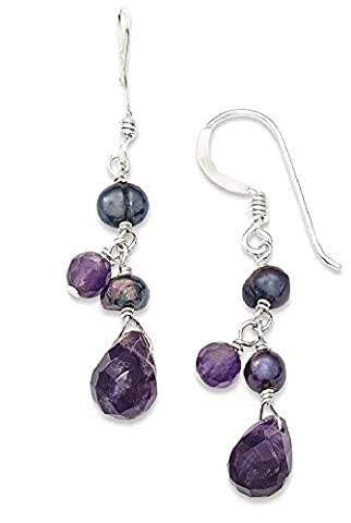 IceCarats 925 Sterling Silver Amethyst/lavender Agate/grey Freshwater Cultured Pearl Drop