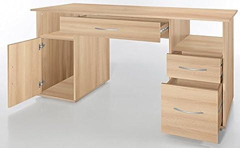 6.6.5.7.1680: deutsche Produktion - PC-Tisch - Computertisch - Buche dek. - Schreibtisch - 3 Schubl. - 1 Tür