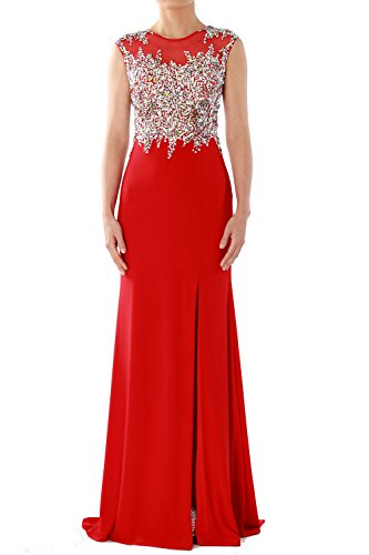 MACloth Women Mermaid Crystals Jersey Long Prom Dress Formal Party Evening Gown Grün