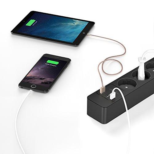 KabelDirekt - Steckdosenleiste - 5-fach - (3-fach USB Ladegerät, max. 4,8A, Steckerleiste bis 4000W / 250V / 16A belastbar, erhöhter Berührungsschutz und Überspannungsschutz, schwarz)