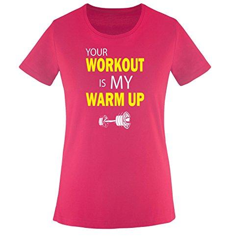 Adler-workout T-shirt (Comedy Shirts - YOUR WORKOUT IS MY WARM UP - Damen T-Shirt - Sorbet / Weiss-Gelb Gr. S)