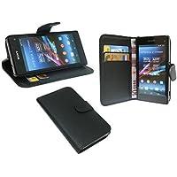 Elegante Funda libro para Sony Xperia Z1 Mini (D5503) EN NEGRO CARTERA BOOK STYLE @ energmix