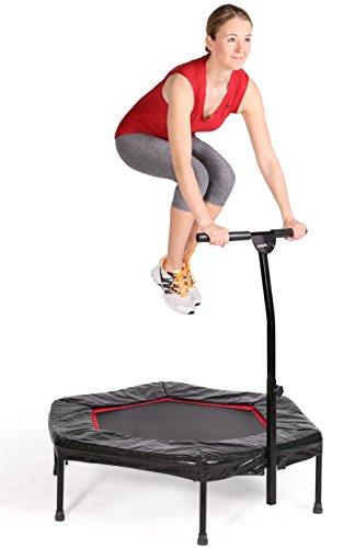 SportPlus Fitness Trampolin, Bungee-Seil-System, Ø 110 cm, bis 130 kg Benutzergewicht, TÜV Süd Sicherheit geprüft, rot - 2
