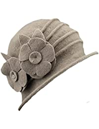 Butterme Sombrero de invierno para mujer, elegante, lana, tipo campana, Camel # 2