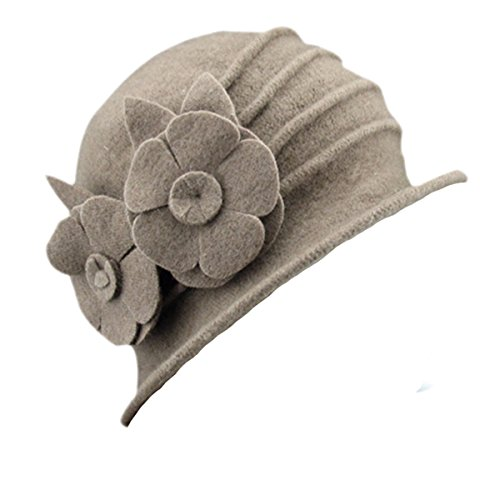 ZUMUii Butterme Damen Winter Elegante Blumen-Wool Cap Beret Mütze Cloche Bucket Hat (Kamel#2) -