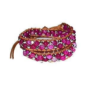 juanlowe Wickelarmband Achat Perlen Perlenarmband Halbedelsteine Steine Leder Armband für Damen
