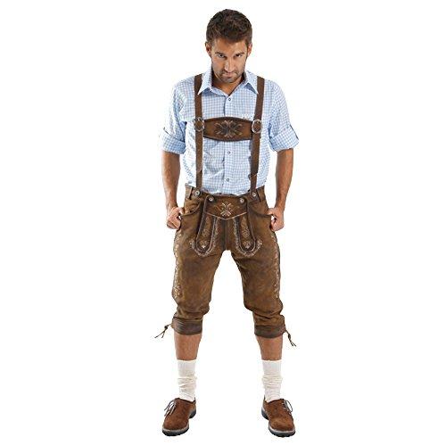 Almbock Lederhose Herren Tracht Kniebund | Lederhose Herren braun aus feinem und antikem Nubukleder | Trachtenhose alt Herren - Trachtenlederhose 52