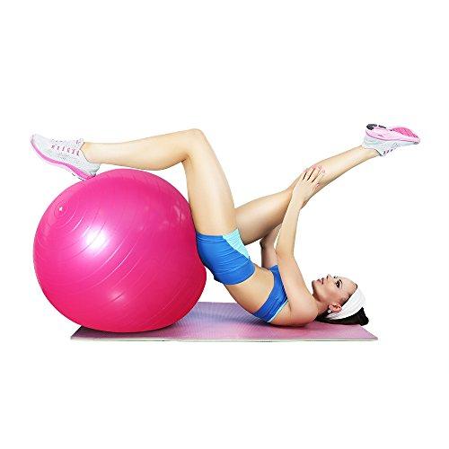 Ballon Suisse de gym 65 cm avec Pompe,Oummit Ballon de Fitness pour femmes et hommes,Parfait pour yoga et travail de la stabilité. (Rose)