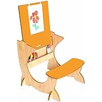 Preisvergleich für Little Helper TC/ASI01-15-G - 4-in-1 Holz Art Station Kinder Schreibtisch mit Kreidetafel und Staffelei, Orange/Natur
