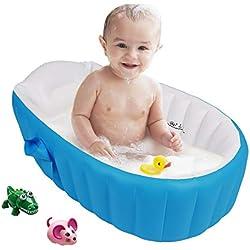 Gonflable Douche de Voyage Pliable Baignoire Pour Bébé Enfants Nouveau-nés (Bleu)