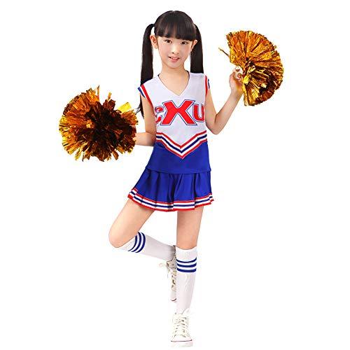 Kinder Mädchen Cheerleader Kostüm CheerleadingUniform Karneval Fasching Party Kleid Halloween Kostüm mit 2 Pompoms Socken Blau 160