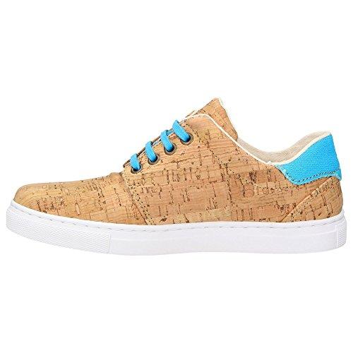 ZWEIGUT® -Hamburg- echt #401 Kork Allwettertauglich Schuhe Damen Halbschuhe Sneaker, vegan + nachhaltig aus echtem Kork, Schuhgröße:38, Farbe:türkis-kork - 4