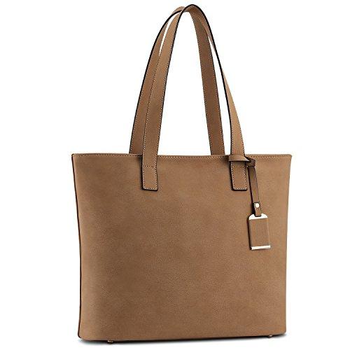 Handtasche Umhängetasche Damen, Plambag Leder Satchel Reine Farben Shopper Tasche mit großer Kapazität (Braun) (D-leder-satchel & Werden)