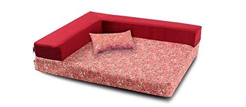 DAN Orthopädische Haustier-Schlafsofa - Hund, Katze oder Welpe Gedächtnis-Schaummatratze - Bequeme Couch für Haustiere mit entfernbarem waschbarem Abdeckung, red, l -