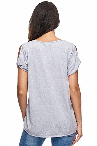 Jillymode Elegante Damen T-shirts einfarbig Feder A1117 A1117-Feder-Hellgrau