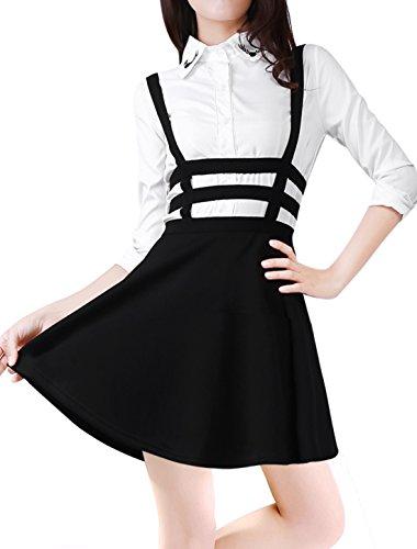 Allegra-K-Lady-Elastic-Waist-Cut-Out-A-Line-Suspender-Skirt