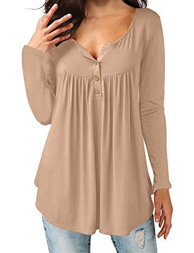 T-Shirts mit V-Ausschnitt Swing Ruffle Blusen Tunika mit Knöpfen Casual Flowy Lange Ärmel (L, Leichter Kaffee) ()