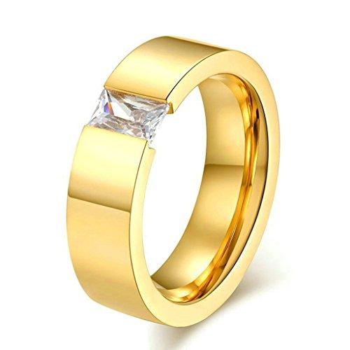 AMDXD Gioielli Acciaio Inossidabile Donna Fedi Nuziali Oro Piazza Disegno Dimensione 30 - 14k Dell'anello Indiano