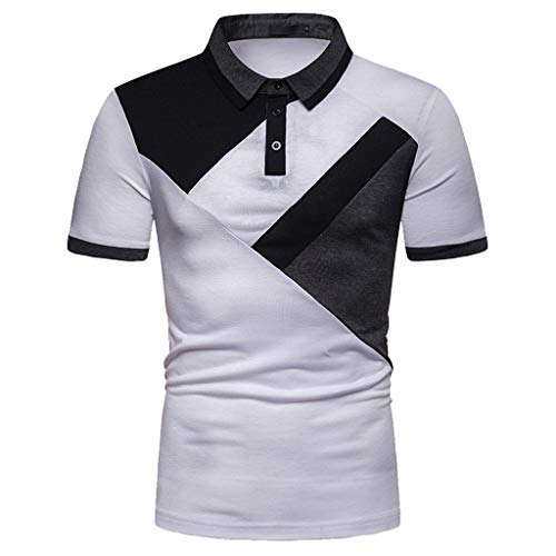 Xmiral T-Shirt Polo Uomo Maglietta A Maniche Corte di Tennis Polo A Manica Corta Uomo Polo Uomo - Tennis Maglia Polo Keep Dry Manica Corta Polo M Bianco
