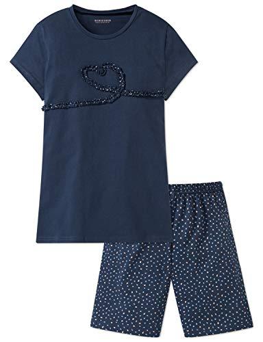 Schiesser Mädchen Anzug kurz Zweiteiliger Schlafanzug, Blau (Blau 800), 176 (Herstellergröße: L)