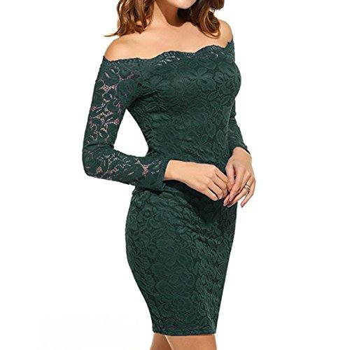 Rcool Retro Sexy Mini Abito in pizzo con maniche lunghe, partito Evening Dress Verde