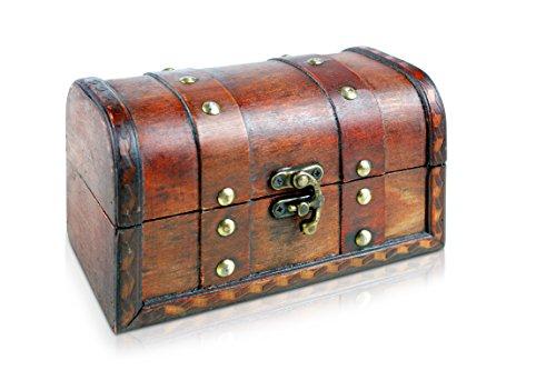 Kleine Schatztruhe 17x10x10cm Holztruhe Schatzkiste Vintage Look Antikes Design Piraten Schatzsuche Holz Rot Braun Schwarz Spardose Schmuck-Schatulle Bauernkasse Holz Sparkasse Truhe