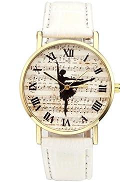 JSDDE Uhren,Vintage Damen Ballerina Musiknotation Armbanduhr Lederband Damenuhr Römische Ziffern Analog Qaurzuhr...