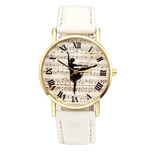 JSDDE Uhren,Vintage Damen Ballerina Musiknotation Armbanduhr Lederband Damenuhr Römische Ziffern Analog Qaurzuhr,Weiss
