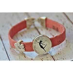 Armband aus Kork Vegan Fee Elfe rosa Glas