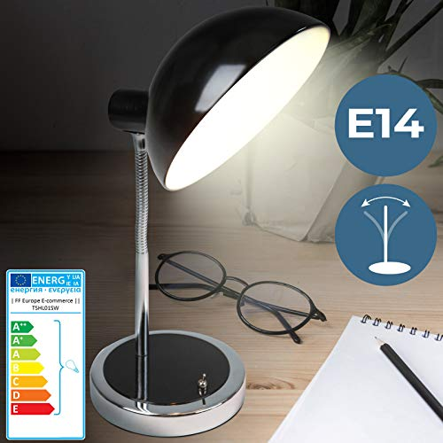 Schreibtischlampe | EEK: A++ bis E | mit Flexiblem Lampenhals und 1,5 Meter Stromkabel, Klassisches Design, Schwarz | Tischleuchte, Leselampe, Tischlampe, Büroleuchte -