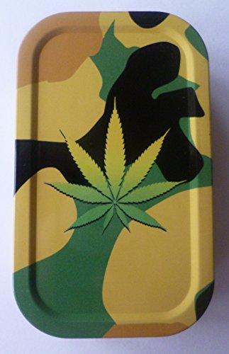 Metall Tabakdose Camouflage Cannabis-Aufdruck, luftdicht (Ocean Aschenbecher)