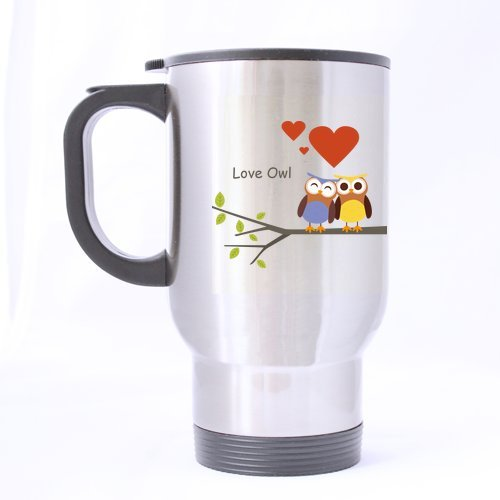 Generic personnalisé Dessin animé Hibou Amour Motif chouette (côté Twin) 396,9 gram en acier inoxydable Mug de voyage (Sliver) pour des vacances Cadeau ou cadeau d'anniversaire