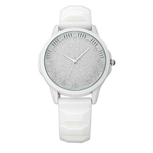 Relojes Pulsera Único Rhinestone Brillante Dial Esmerilado Cuarzo Relojes Mujer Correa de Silicona Mate Deportivo, Blanco